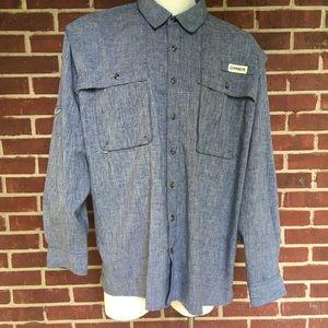 Magellan 2XL Men  Blue Button Down Shirt